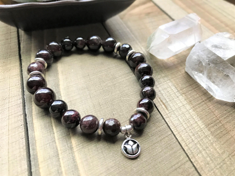 Garnet Stone Bracelet Garnets Healing Gemstone Womens