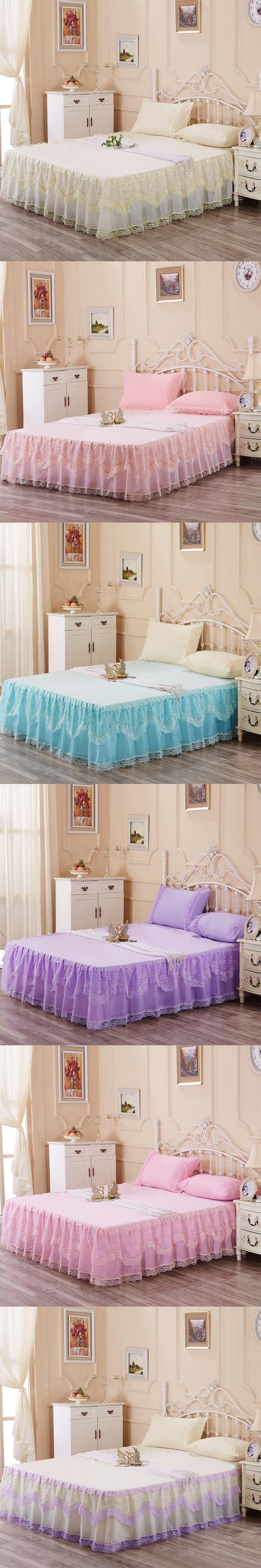 romantic bed skirt lace bed covers queen bedspread set pink bed