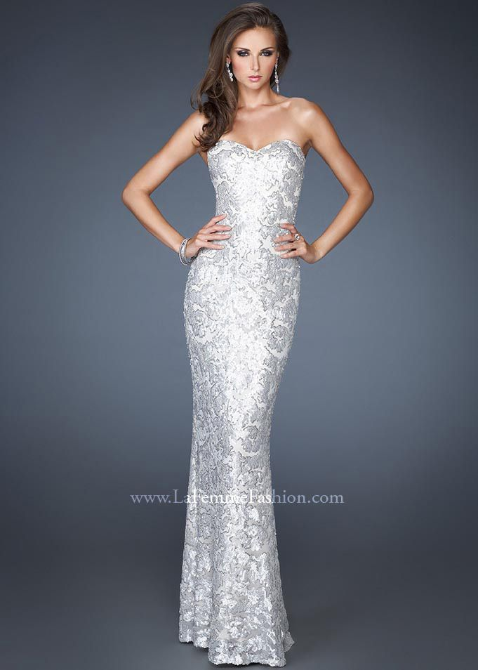 808a45a434a New 2013 La Femme 18917 silver strapless sweetheart sequin dresses in stock  now at RissyRoos.com.