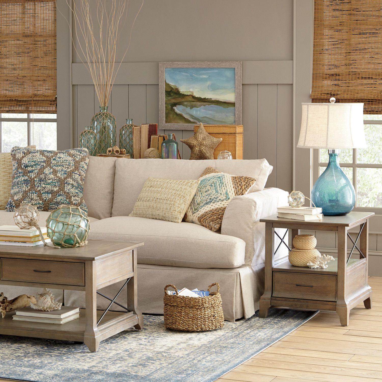 rustic green beach themed bedroom | Glaucio Indigo Area Rug | Beach living room, Coastal ...