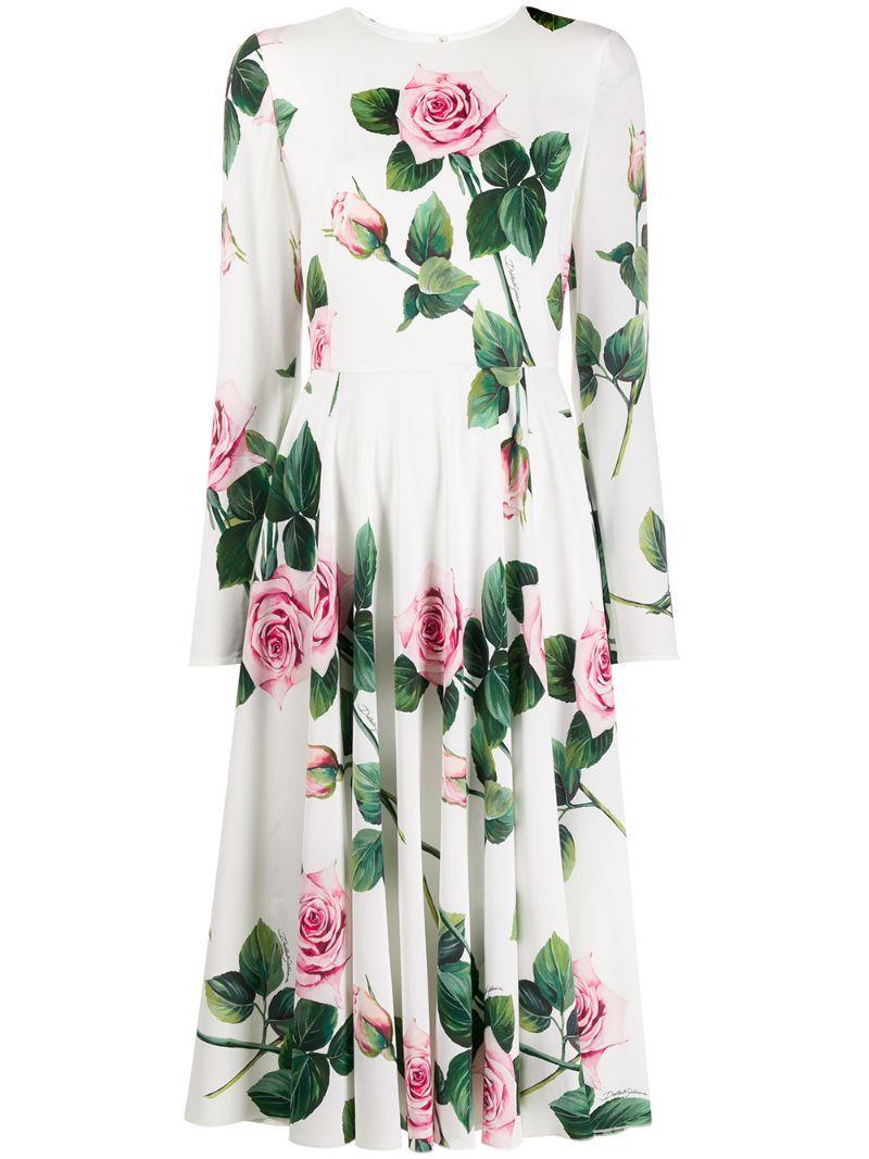 Dolce & Gabbana Kleid Mit Rosen-print In White  ModeSens  Rose