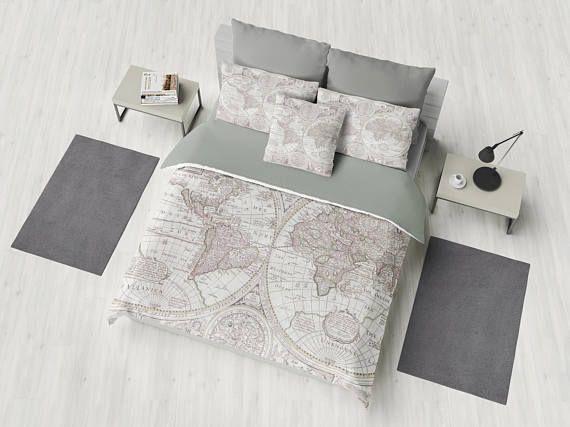 World map duvet cover bed bedroom travel decor cozy soft gray world map duvet cover bed bedroom travel decor cozy soft gray grey winter warm wanderlust gumiabroncs Images