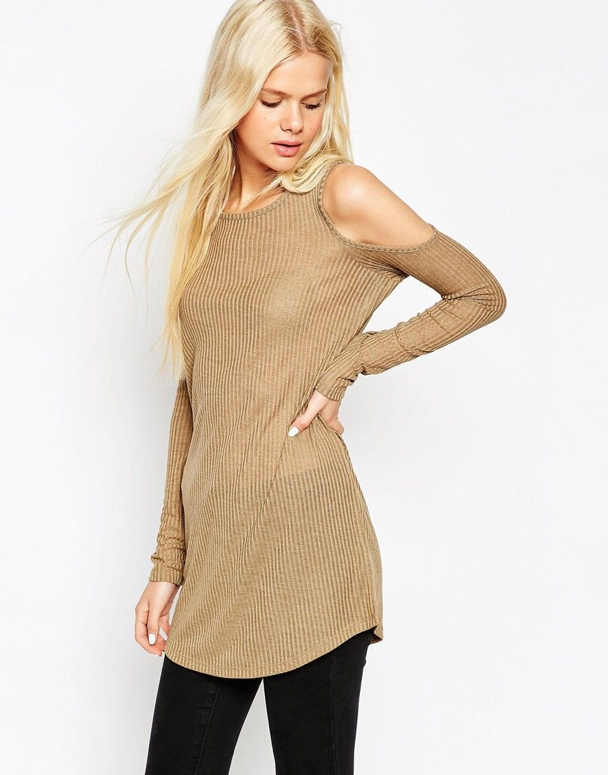 ASOS+Longline+Top+With+Cold+Shoulder+In+Fancy+Rib+With+Long+Sleeves