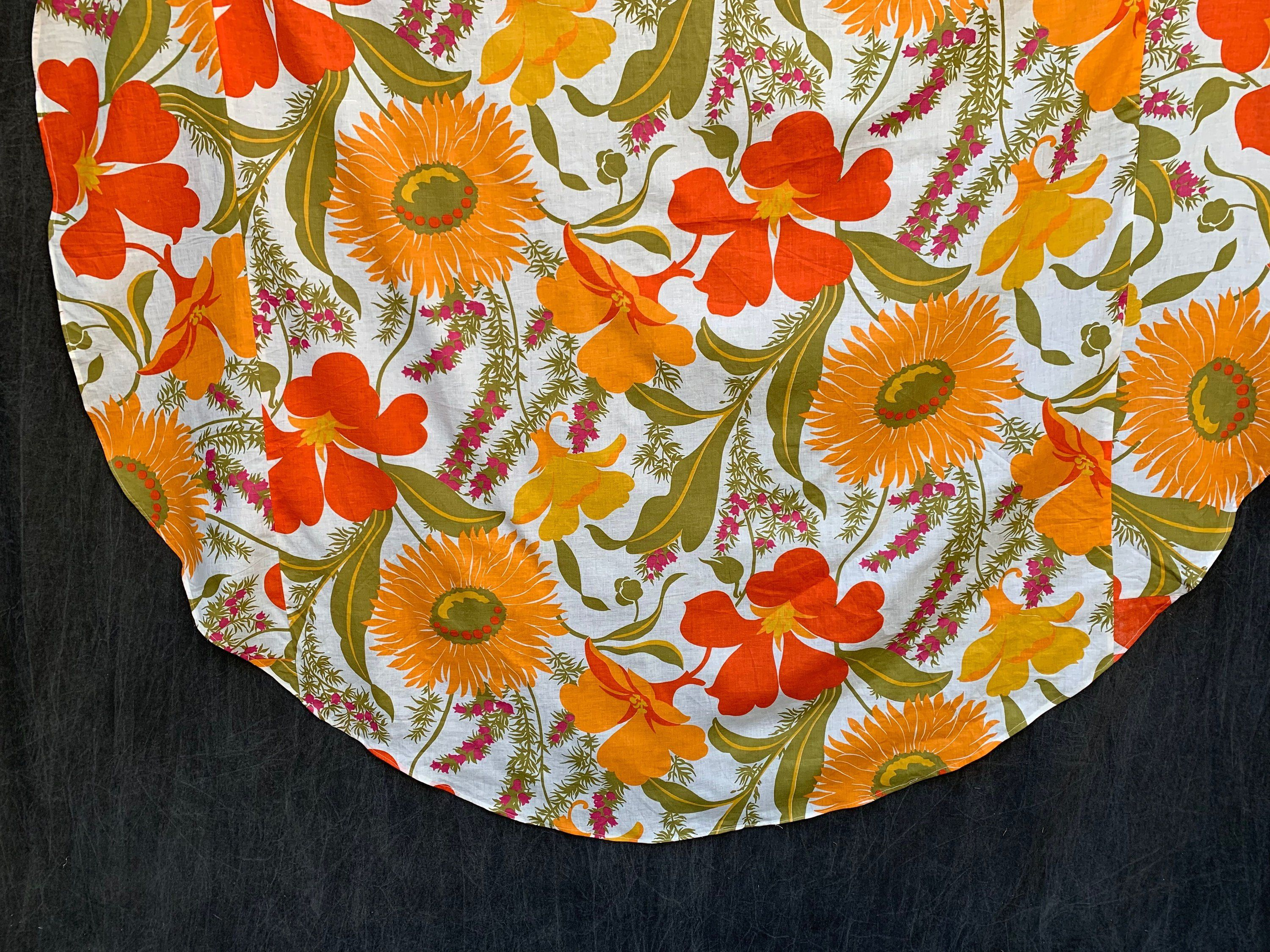 60 S Tablecloth Circular Cotton Mixed Flowers Round Table Cloth 65