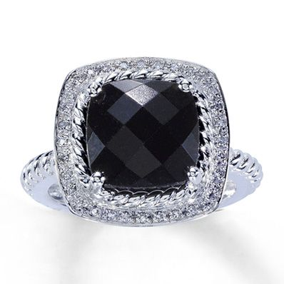 10K White Gold Diamond & Onyx Ring - Jared's