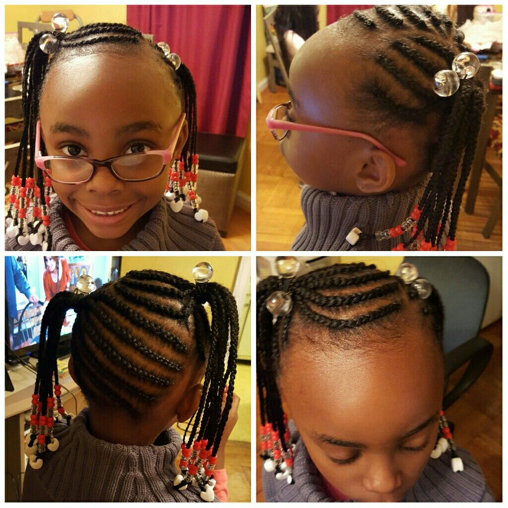 Two Ponytails With Beads Kids Hairstyles Kid Braid Styles Natural Hair Styles