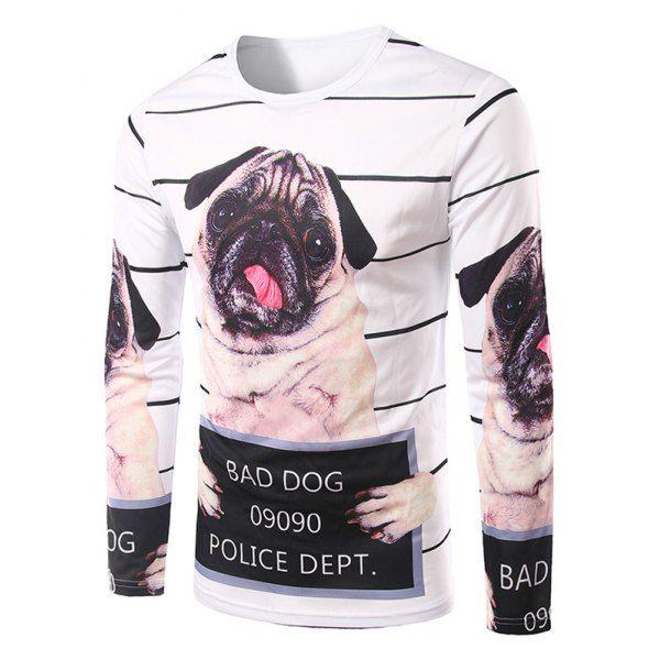 Men's Slimming 3D Dog Printing Collarless Long Sleeves #women, #men, #hats, #watches, #belts, #fashion, #style