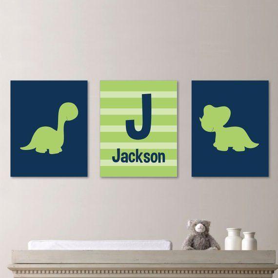 Baby Boy Nursery Art - Dinosaur Nursery Art - Dinosaur Nursery Print - Dinosaur Bedroom Art - Custom Name Print - Green Navy Blue (NS-190) #dinosaurnursery