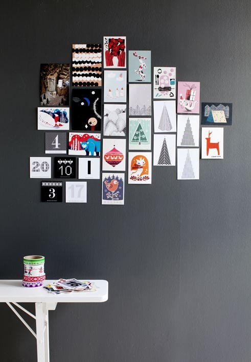 Photography Kristiina Kurronen via Susanna Vento. Bright and clean Scandinavian Gallery Wall. - Tästähän voi vaikka tehdä joulukalenterin, kun peittää kortit ja sit avaa yksi kerrallaan... :)