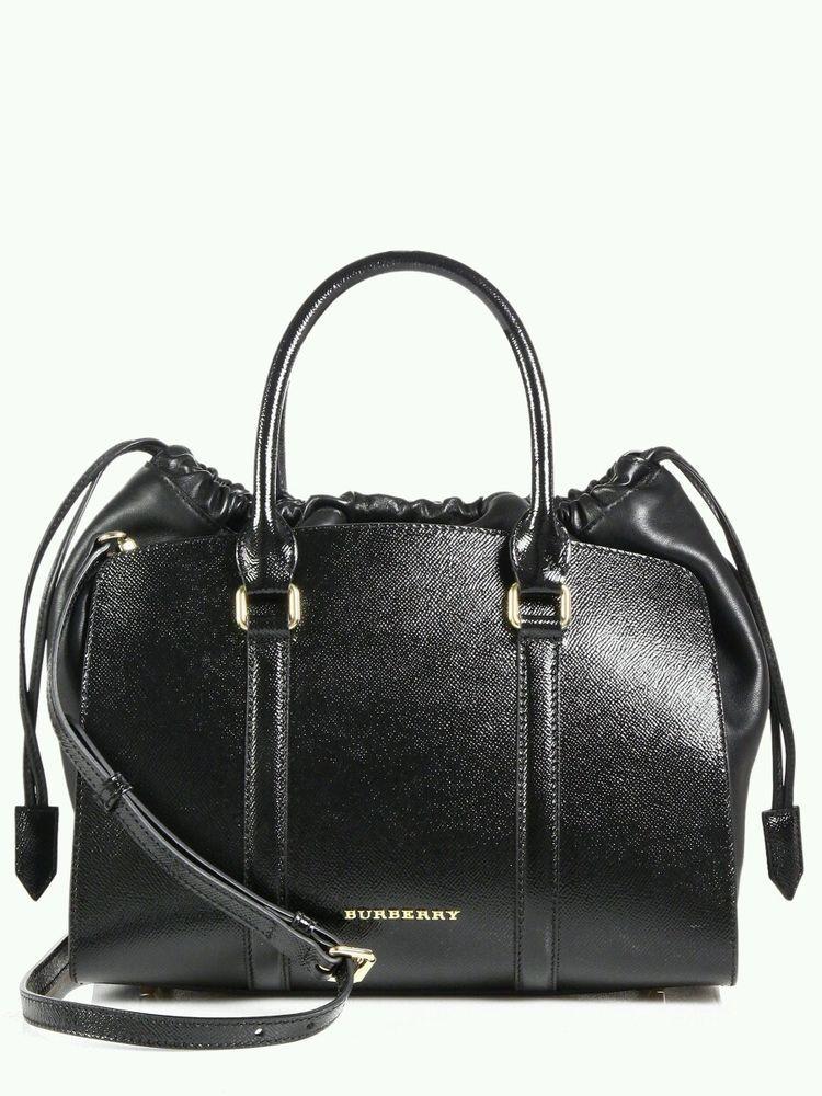 c74ed25bb48c Burberry London Dinton Medium Black Patent Leather Tote Satchel Drawstring  Bag