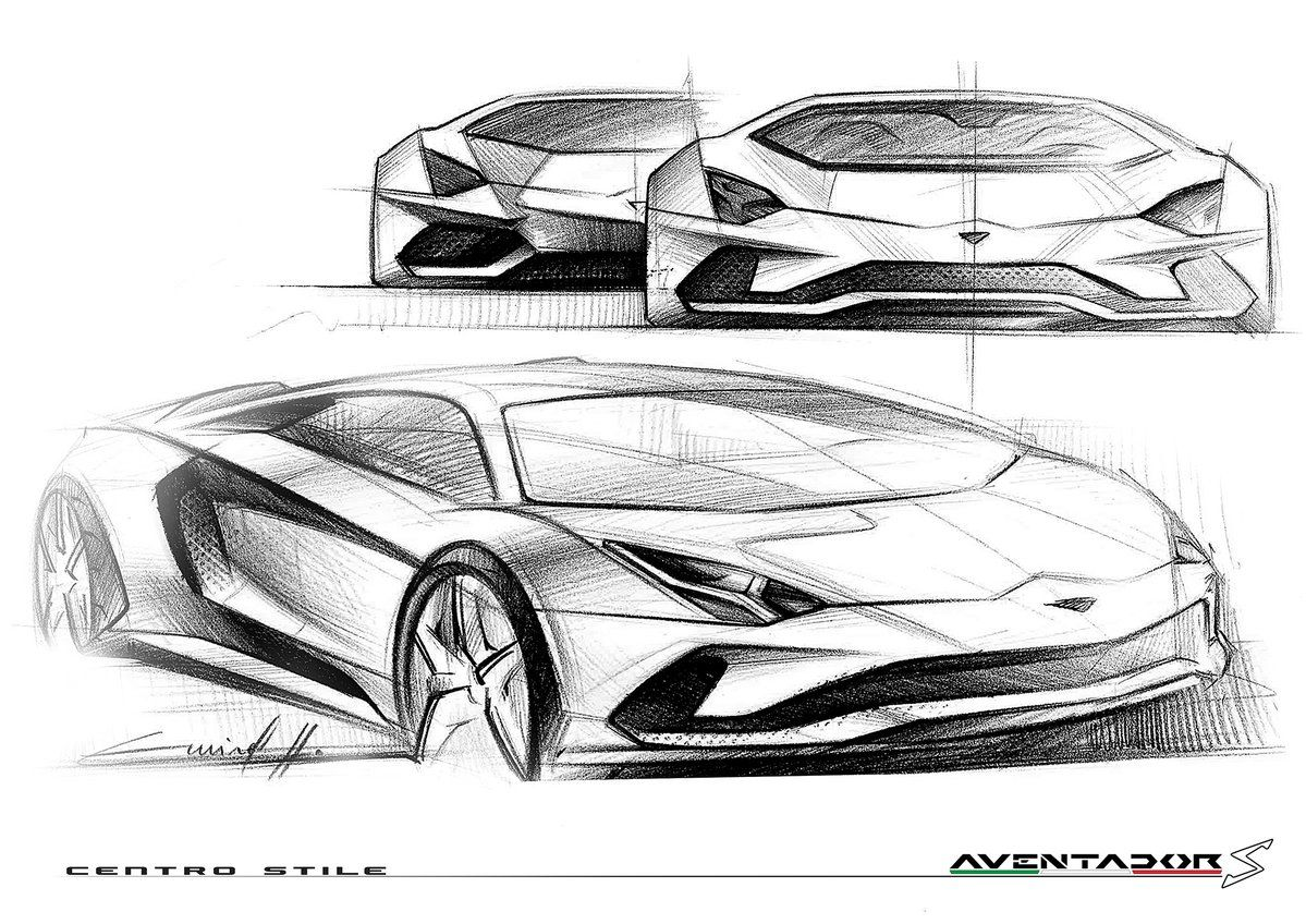 Lamborghini Aventador S Design Sketch Beauty In Motion