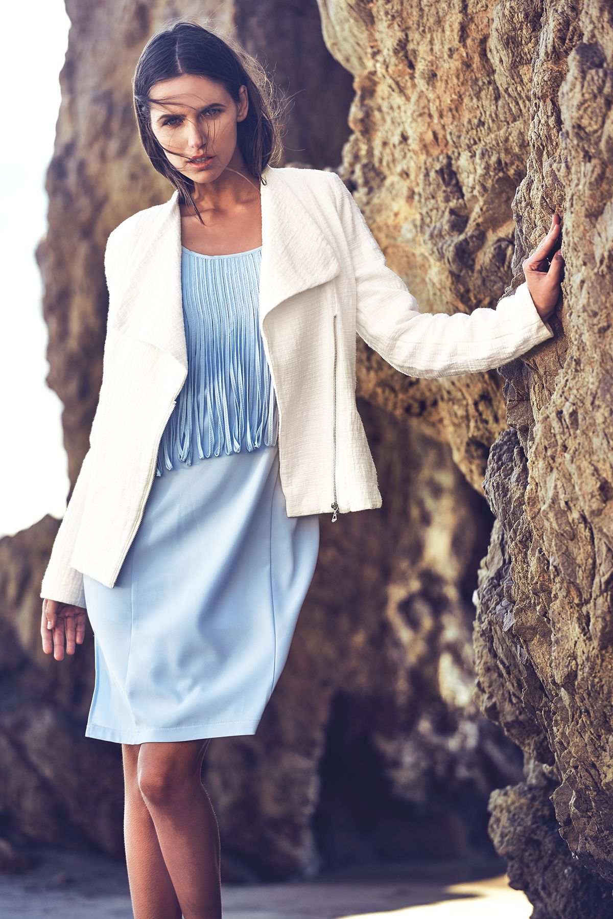 Sleeveless fringe shift dress long sleeve textured front zip up