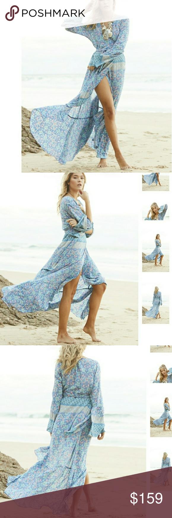 Nwt gypsy mermaid wrap maxi dress nwt tie dying maxi dresses