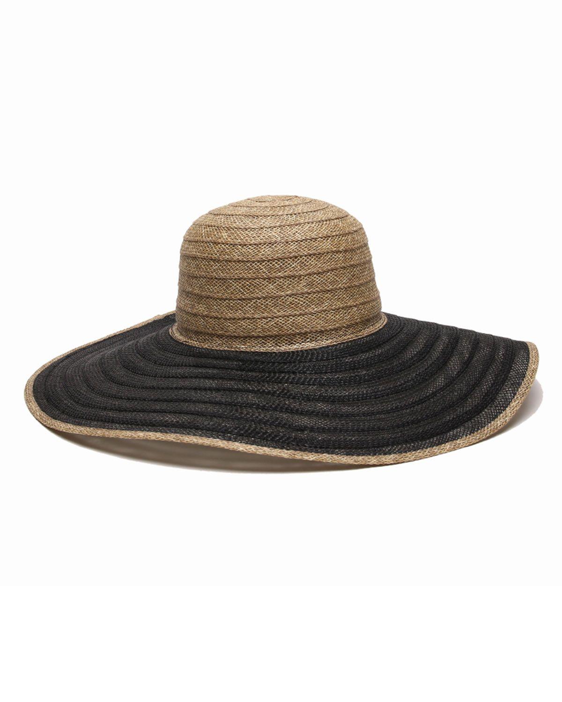 Ale by Alessandra La Jolla Floppy Two-Tone Straw Sun Hat, Black, Women's