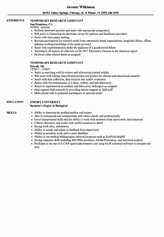 Research Assistant Resume Description Fresh Temporary Research Assistant Resume Samples Resume Examples Research Assistant Assistant Jobs