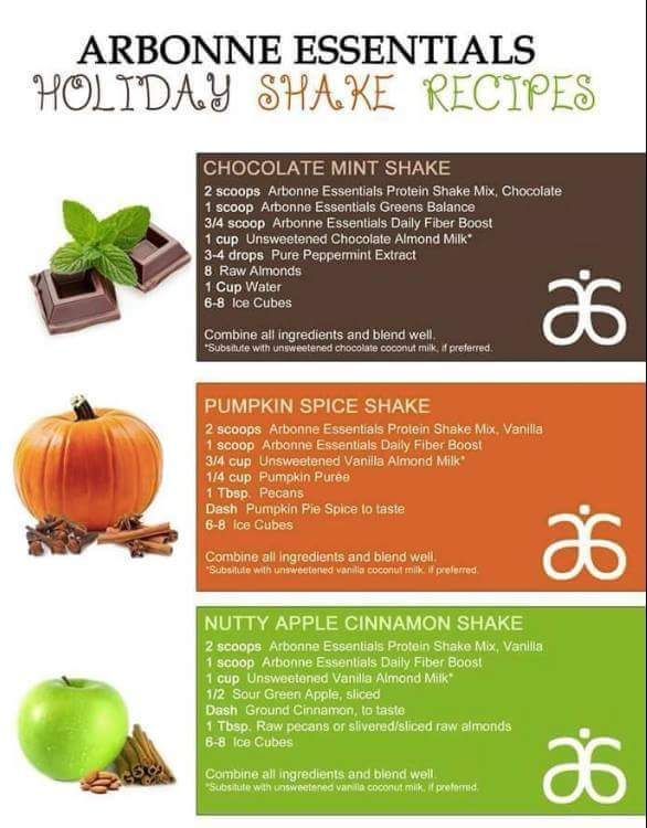 Arbonne Holiday Shake Pumpkin Spice Chocolate Mint Apple Cinnamon More