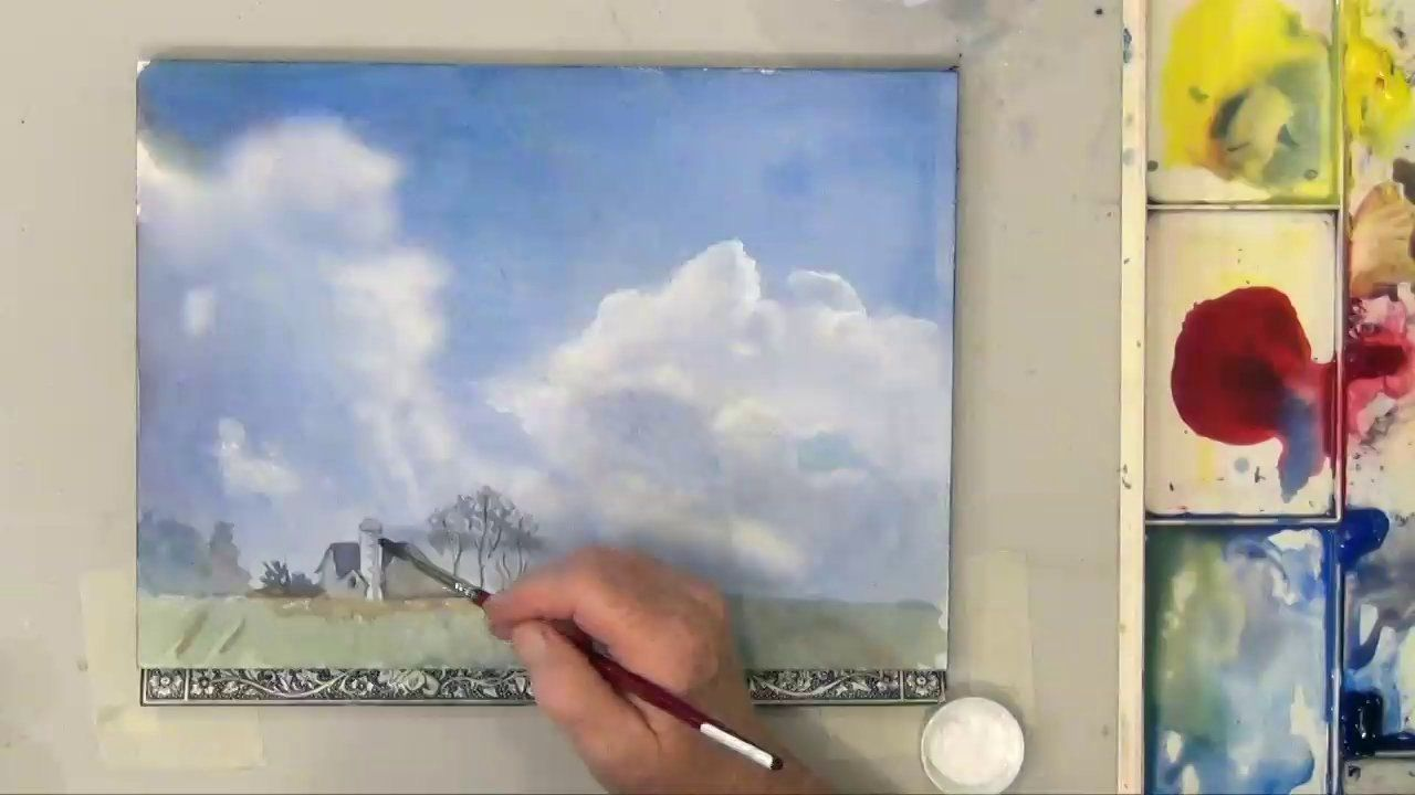 Skies and Clouds in Watercolor Part 2. Wet on wet can be adjusted easily after your wash dries. Learn how to apply another wash to add color...