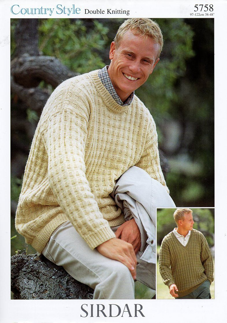 original mens DK sweters knitting pattern Sirdar 5758 v or round ...