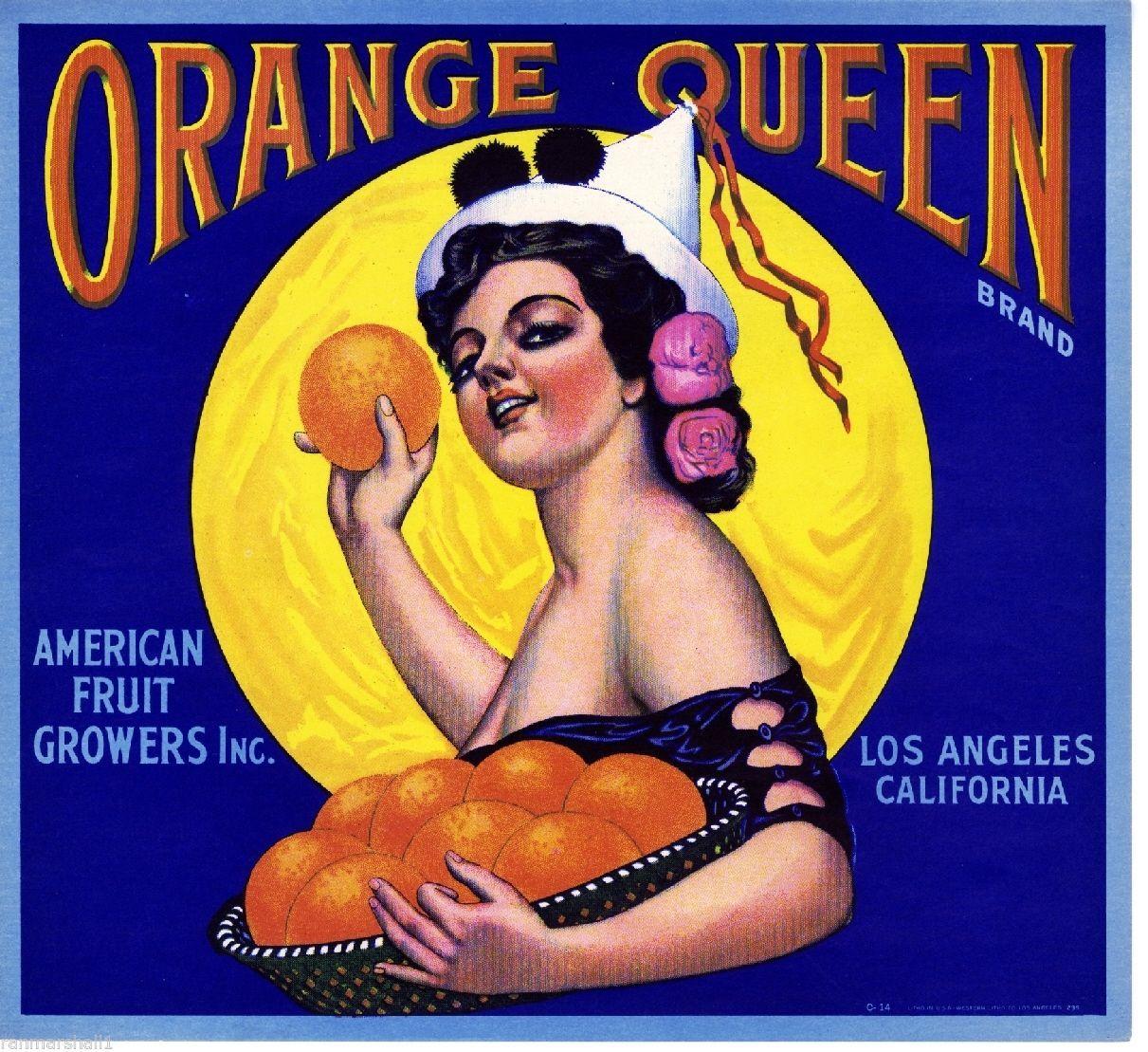 Los Angeles CA, Orange Queen fruit crate label