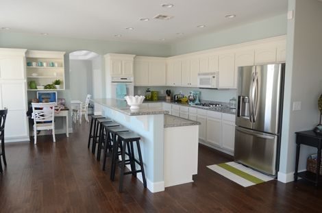 Paint color: Rainwashed by Sherwin Williams Cabinet color