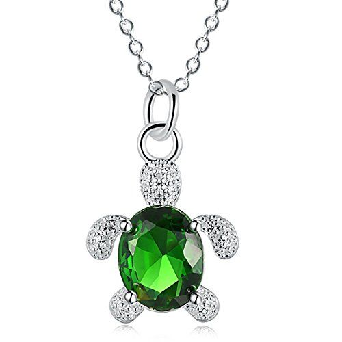 Blue and Green Crystal Small Tortoise Pendant Necklace Cu… smile.amazon.com/…..