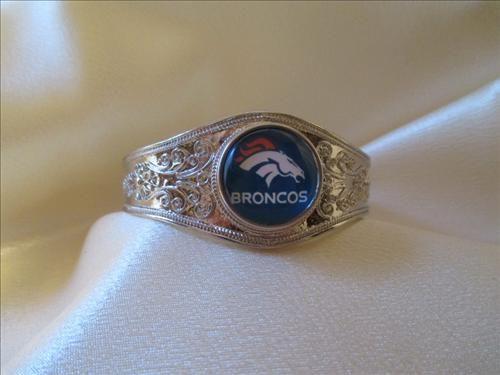 Silver Denver Broncos Bangle Bracelet