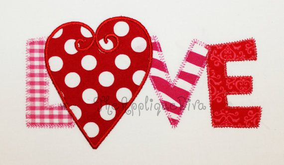 Valentine S Day Love Word Embroidery Design Machine Applique
