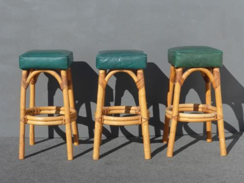 THREE Vintage Mid Century Modern Green Bamboo BARSTOOLS Tiki Palm Beach  Style In Antiques, Furniture