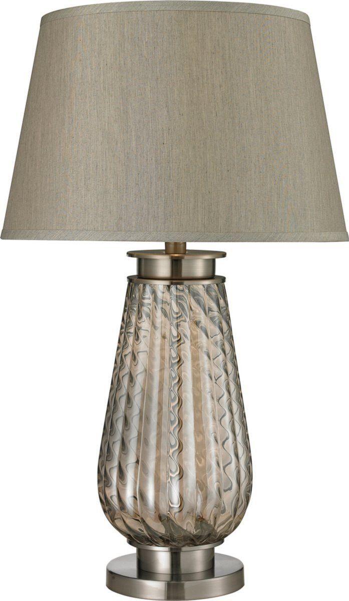 0 025712 Moro 1 Light 3 Way Table Lamp Smoked Glass Brushed