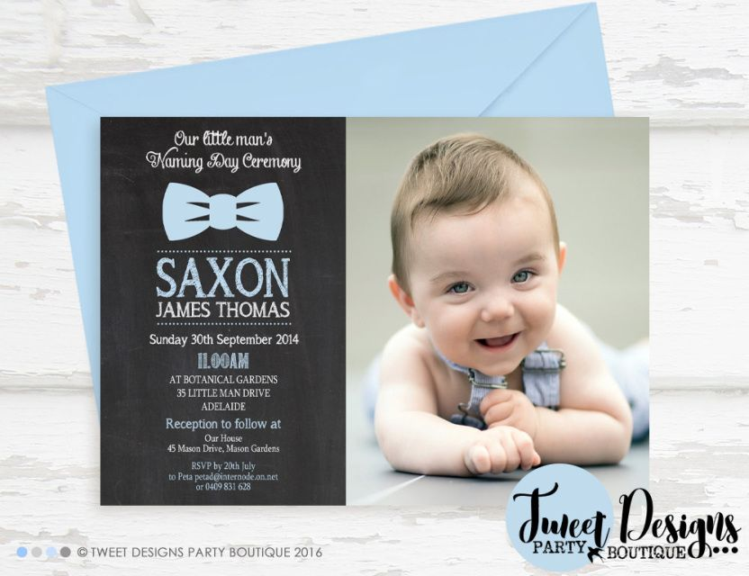 30 Personalised Boys Blue Christening Day ~ Naming Day~Baptism Day Invitations Z
