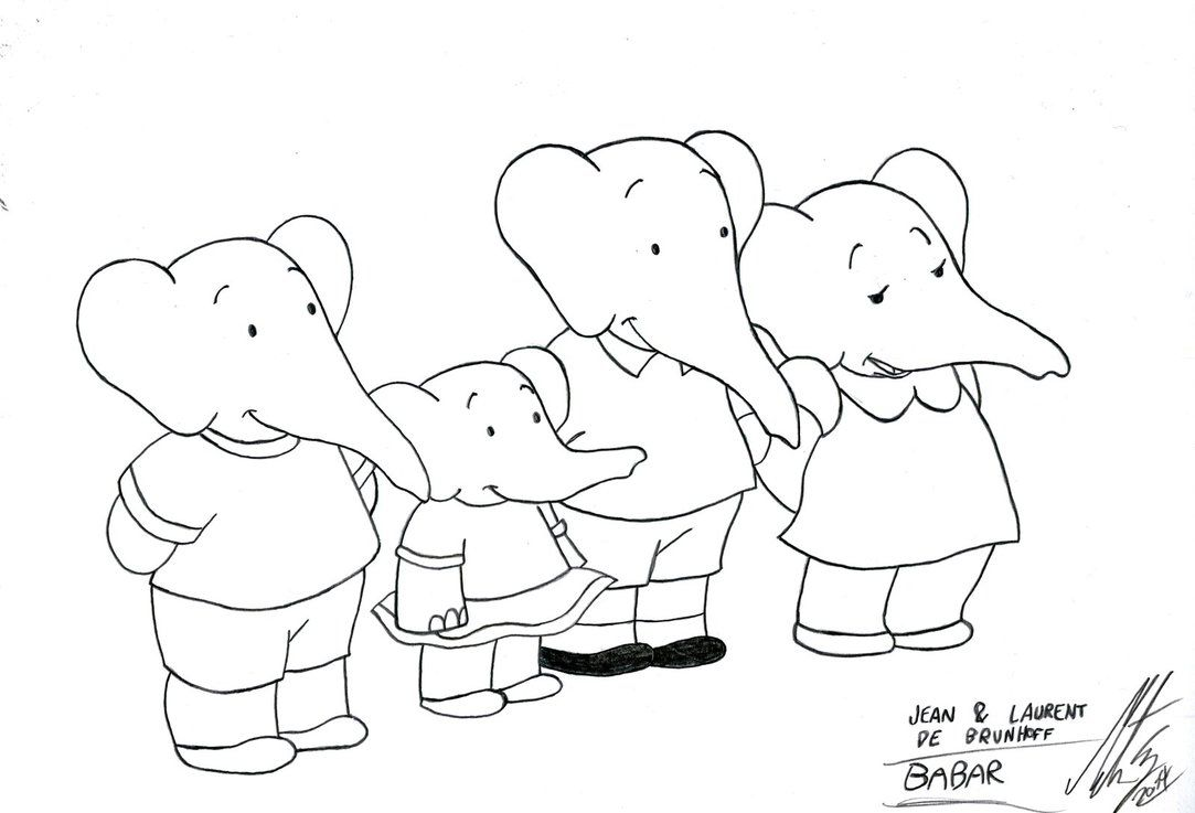 Elephant Coloring Pages Babar