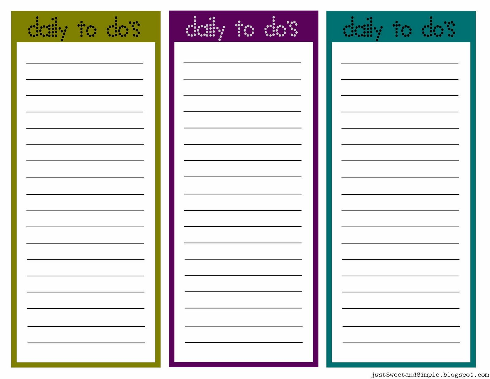 Printable Little Daily To Do List S