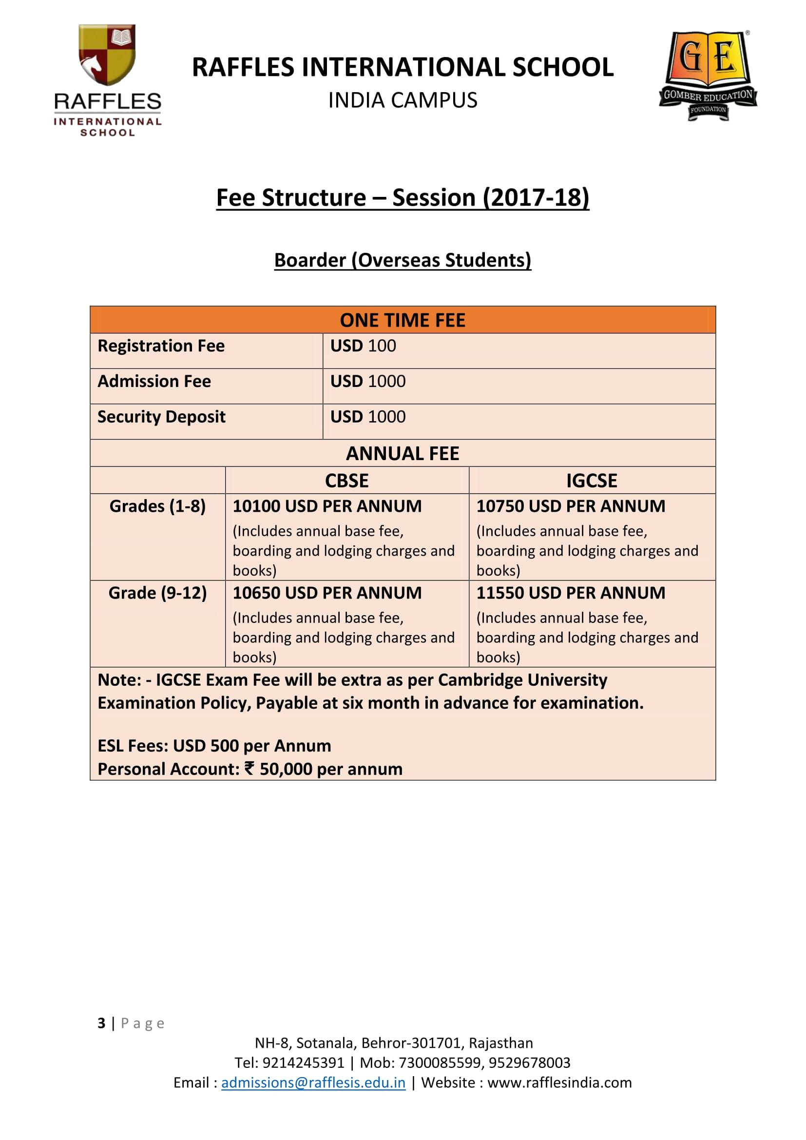Fee Structure- Boarding Students of Overseas from Class III to XII ...