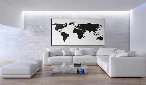 Large Vertical Wall Art map painting, black white, extra large wall art, huge abstract