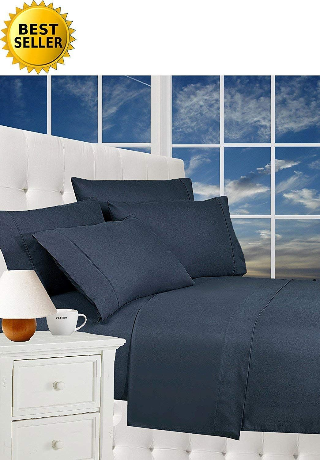 Wrinkle resistant luxury piece bed sheet set thread count