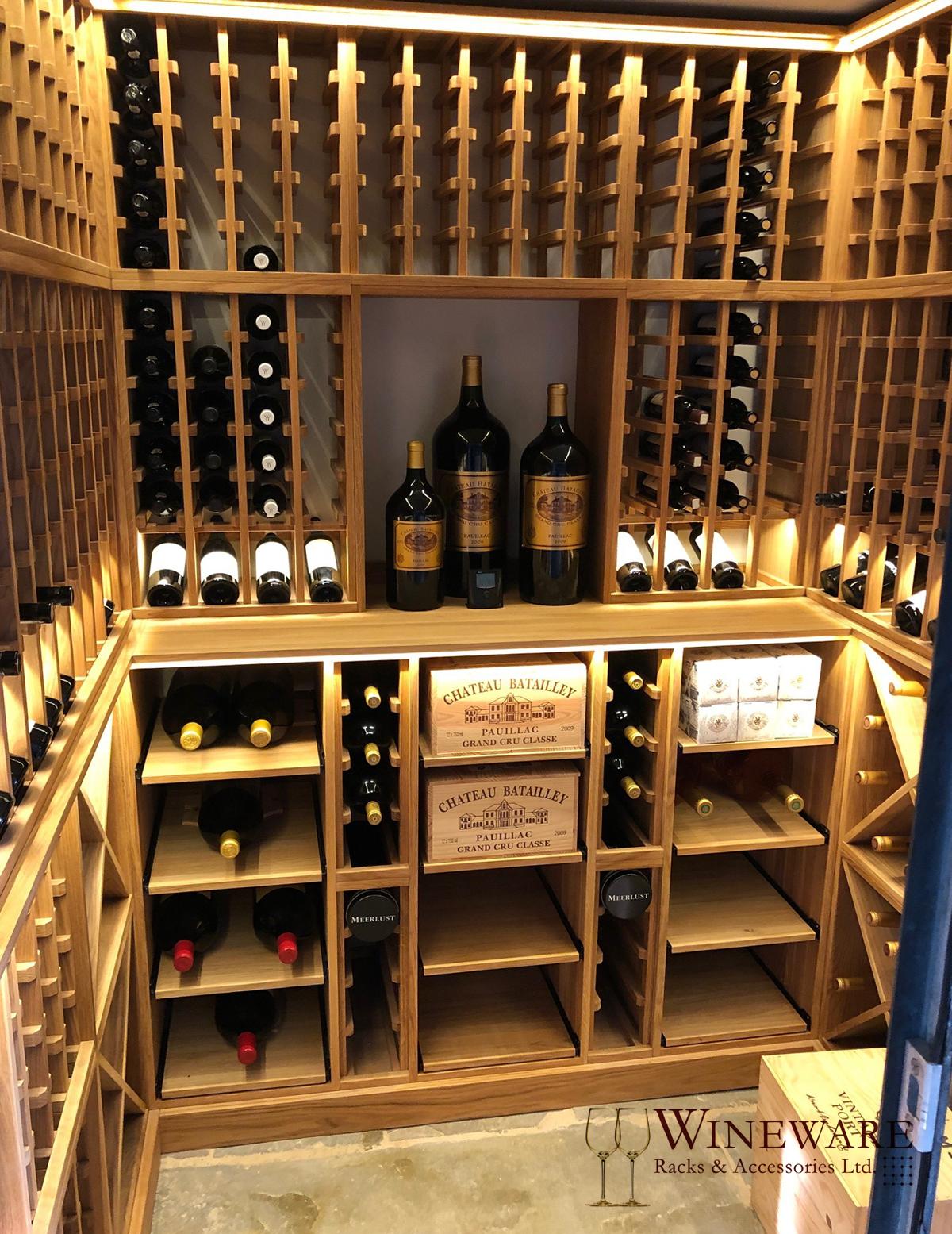 Deluxe Bespoke Oak Wine Racking In Private Home Oak Wine Rack