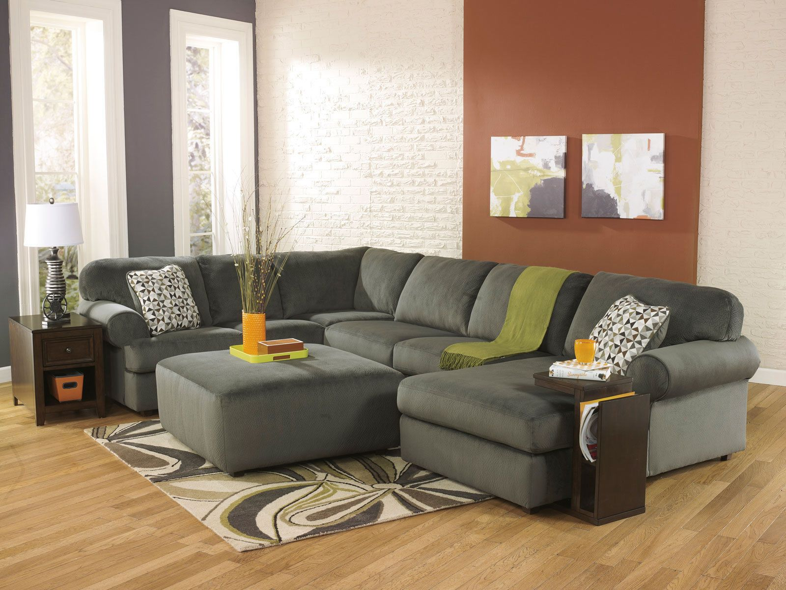 Sonata large modern pewter microfiber living room sofa couch sectional set new sofas