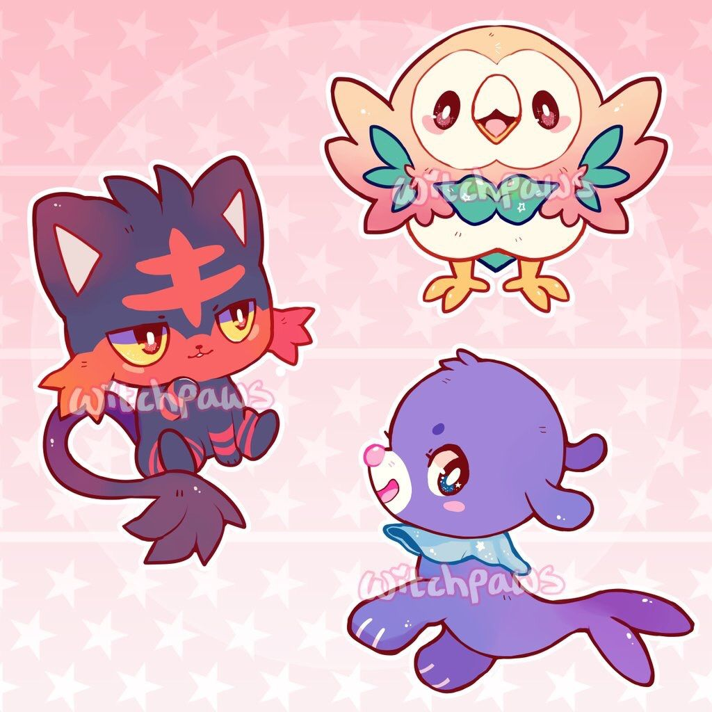 PKMN Sun & Moon starter acrylic charm designs! Will be available for ...