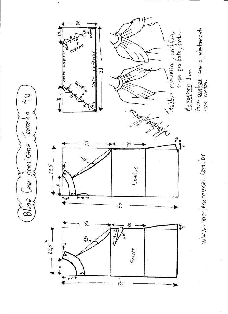 Esquema de modelagem de Blusa com cava americana e drapeado solto ...