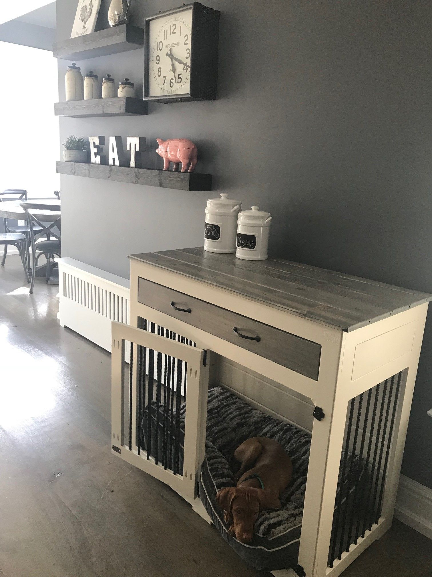 There S Something Pretty Magical About Our Farmhouse Style Kennel Bbkustomkennels Doggieden Diy Dog Crate Dog Kennel Furniture Wooden Dog Crate