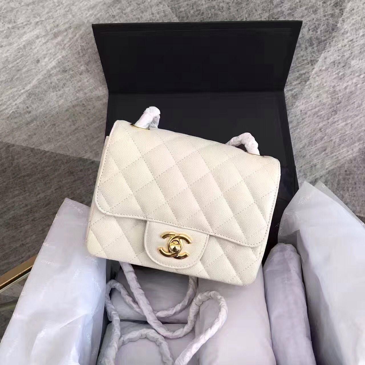 50f8762c66e974 CHANEL White Calfskin Mini Square Classic Flap Chain Shoulder Bag with  Silver Hardware - Bella Vita Moda