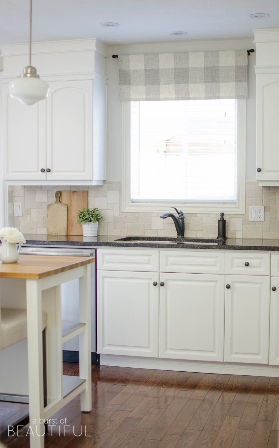Kitchen Window Valance Remodeling Charlotte Nc Farmhouse Tutorial Home Decor A Made From Neutral Buffalo Check Fabric Compliments This Simple Perfectly Visit Aburstofbeautiful Com For The Full
