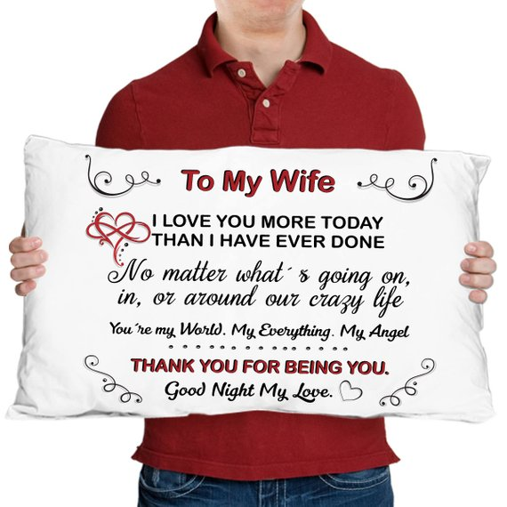 To My Wife - Anniversary Gifts u2013 Gift for Wife u2013 Wife Pillow - Husband to Wife u2013 Wife Gift ideas u2013 B  sc 1 st  Pinterest & To My Wife - Anniversary Gifts u2013 Gift for Wife u2013 Wife Pillow ...