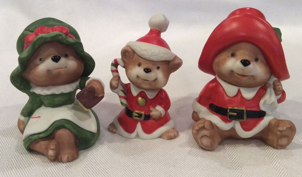 Home interior set of 3 vintage christmas bear figurines homco 5600