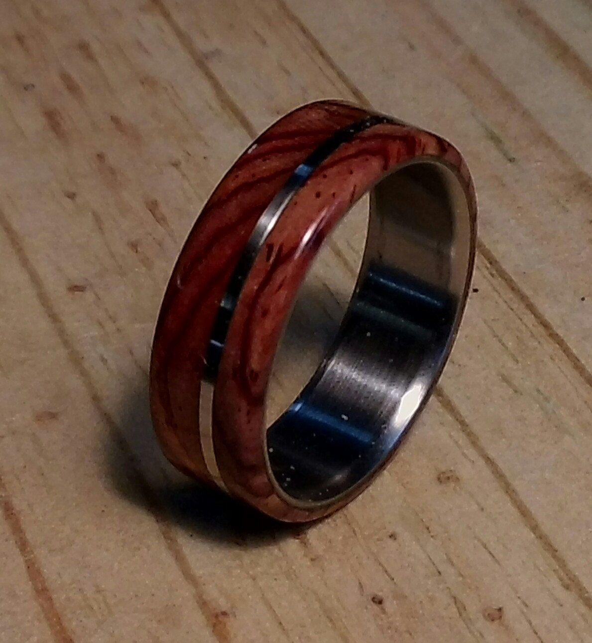 Wedding Band for Men, Mens Titanium Ring, Cocobolo Wood
