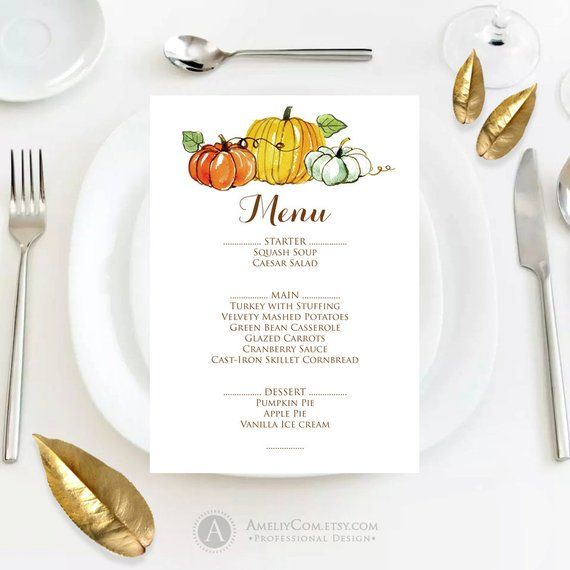 Fall Menu Template Printable Autumn Thanksgiving Menu Fall Pumpkin
