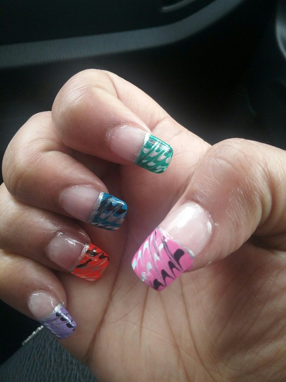 Spring Nail Design: Pink,Green,Blue,Orange,and Purple with ...