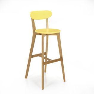 Chaise de bar design scandinave coloris jaune Jaune/chêne - Siwa ...
