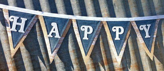 Denim and Burlap Birthday Banner
