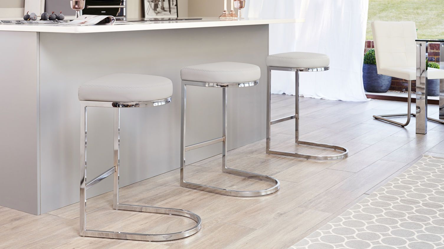 Form Chrome Bar Stool Modern Kitchen Stools White Bar Stools